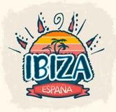 Ibiza Espana, Ibiza Hiszpania hiszpański tekst ilustracja wektor