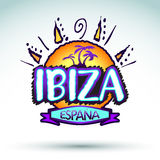 Ibiza Espana, Hiszpania -, wektorowa ikona, emblemata projekt royalty ilustracja