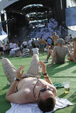 Ibiza 123 festivalgoers Stock Afbeeldingen