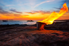 Ibiza fire at sunset in sant antonio de Portmany Royalty Free Stock Image
