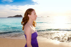 Ibiza girl at sunset in Cala Conta San Antonio Stock Photography