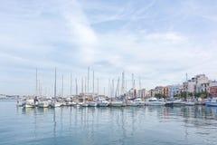 Ibiza harbor with moored sailboats Royalty Free Stock Image