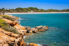 Ibiza island,beach Ses Salines  in Sant Josep at Balearic island Stock Images
