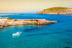 Ibiza island,beach Ses Salines  in Sant Josep at Balearic island Royalty Free Stock Images