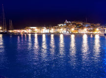 Ibiza island Eivissa town night view Royalty Free Stock Photos