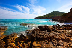Ibiza island Platja Es bol Nou beach Ses Salines Stock Photo