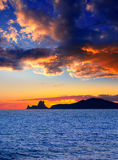 Ibiza island sunset with Es Vedra in background Royalty Free Stock Image