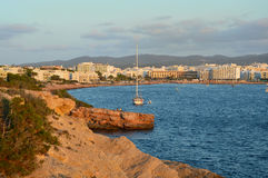 Ibiza Island at sunset, Spain Cala Gracio Stock Photography