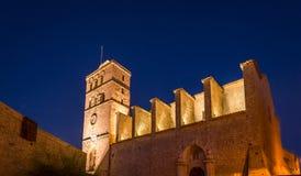 Ibiza-Kathedrale nachts Stockbild