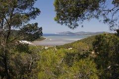Ibiza Marine salt farm. View in the Balearic Spanish island. Protected patrimony and Unesco world heritage since 1989 Royalty Free Stock Photo