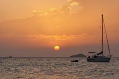 Free Ibiza, Moored Sailboat At Sunset Royalty Free Stock Images - 26891979