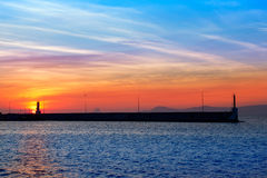 Ibiza mountains on sunset view from Formentera Royalty Free Stock Photo