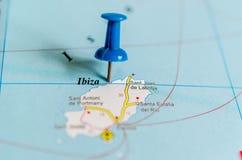 Ibiza no mapa imagem de stock royalty free