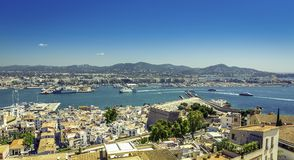 Ibiza Old Town and harbor, Balearic Islands Stock Photography