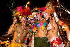 Ibiza Party. Group of dancers promoting their club party in the streets of Ibiza old town