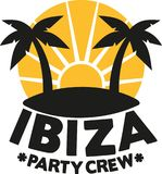 Ibiza party crew with palms. Vector Royalty Free Stock Images