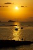 Ibiza Piękny zmierzch w Cala Conta, Ibiza, blisko San Antonio Fotografia Royalty Free