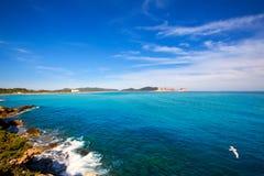 Ibiza Platja des Codolar and Cap des Falco at Balearics Stock Images