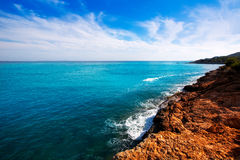 Ibiza Platja des Codolar and Cap des Falco at Balearics Royalty Free Stock Image