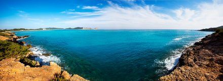 Ibiza Platja des Codolar and Cap des Falco at Balearics Royalty Free Stock Photography