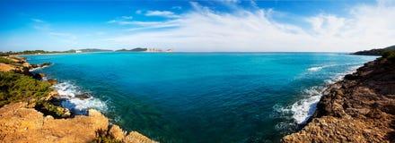 Ibiza Platja des Codolar and Cap des Falco at Balearics Royalty Free Stock Photography