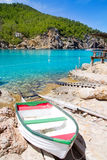 Ibiza Port de Benirras beach turquoise color Royalty Free Stock Image