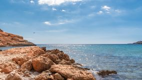 Ibiza, praia do Sa Caleta fotografia de stock royalty free