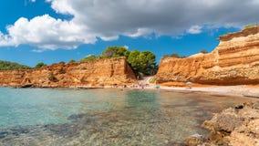 Ibiza, praia do Sa Caleta imagem de stock