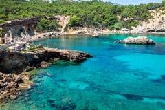 Ibiza Punta de Xarraca τυρκουάζ παράδεισος παραλιών στην των Βαλεαρίδων $νήσων Isla στοκ εικόνες με δικαίωμα ελεύθερης χρήσης