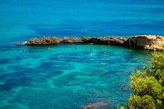 Ibiza Punta de Xarraca turquoise beach paradise in Balearic Isla Royalty Free Stock Image