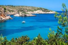 Ibiza Punta de Xarraca turquoise beach paradise in Balearic Isla. Nds Royalty Free Stock Photos