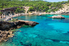 Ibiza Punta de Xarraca turquoise beach paradise in Balearic Isla Royalty Free Stock Images