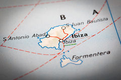 Ibiza on a road map Royalty Free Stock Photos