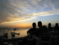 Ibiza´s terrace bar sunset Stock Images