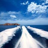 Ibiza Sa Conillera island from boat wake San Antonio Royalty Free Stock Images