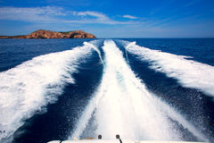 Ibiza Sa Conillera island from boat wake San Antonio Stock Photo