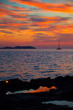 Ibiza san Antonio Abad de Portmany sunset Stock Images