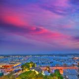 Ibiza San Antonio Abad Sant Antoni Portmany sunset. In Balearic islands royalty free stock photography
