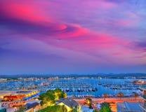 Ibiza San Antonio Abad Sant Antoni Portmany sunset. In Balearic islands royalty free stock photo