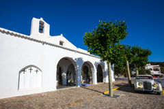 Ibiza Sant Carles de Peralta white church in Balearic Royalty Free Stock Photos