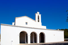 Ibiza Sant Mateu d Albarca San Mateo white church Royalty Free Stock Photography