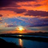 Ibiza ses Salines saltworks at sunset in Sant Josep. At Balearic Islands of Spain Royalty Free Stock Image