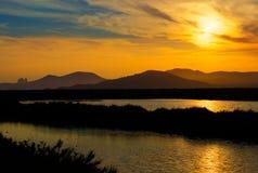 Ibiza ses Salines saltworks at sunset in Sant Josep. At Balearic Islands of Spain Royalty Free Stock Photo