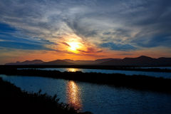 Ibiza ses Salines saltworks at sunset in Sant Josep Stock Images