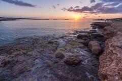 Ibiza solnedgång på San Antonio Fotografering för Bildbyråer