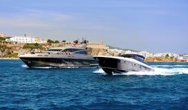 Motor yachts in the Mediterranean Sea. Ibiza. Balearic Islands. Royalty Free Stock Photos
