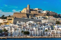 Panoramic view of the city of Ibiza stock photo