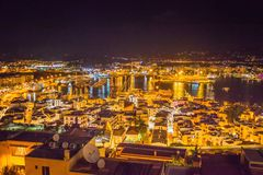 Rooftop view at night on harbor from Catedral de Santa Maria. IBIZA, SPAIN - OCTOBER 10, 2014: Rooftop view at night on harbor from Catedral de Santa Maria royalty free stock photos
