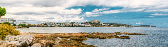 Ibiza, Spain. Panoramic view of Ibiza city and Mediterranean Sea. Spain Royalty Free Stock Images