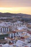 Ibiza stad på solnedgången, Eivissa - Spanien Royaltyfri Bild